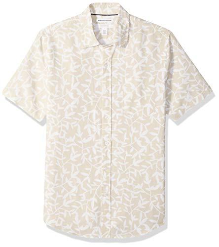 Amazon Essentials - Camisa de lino a rayas, de manga corta y corte entallado para hombre, Natural Leaf Print, US M (EU M)