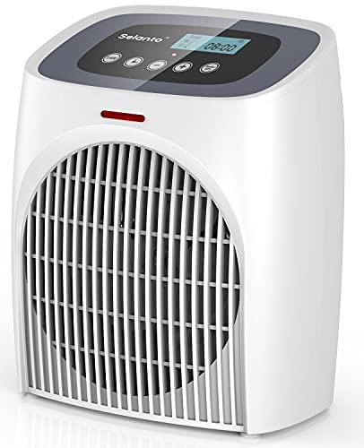 Portable Digital Space Heater for indoor use, Selanto Portable Heater with Thermostat, Built-in 12H Timer and Tip-over & Overheat Protection, 1500W PTC Ceramic Heater for Bedroom Office