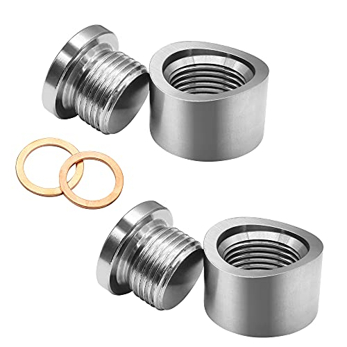 Mounting Bungs and Plugs, Stainless Steel M18 x 1.5 Thread Notched Style Exhaust Weld in Bung with Gaskets (2 Sets)
