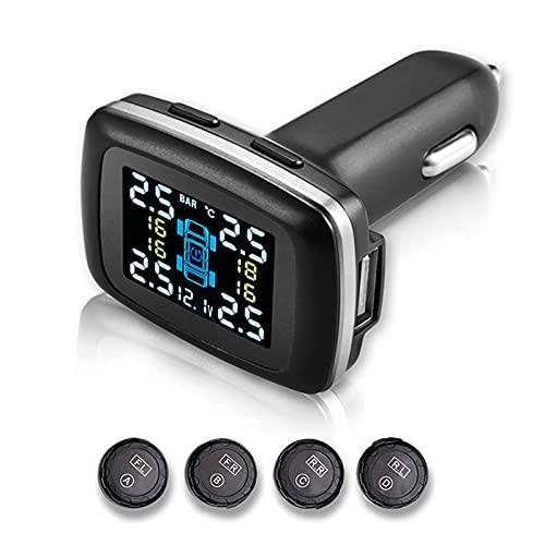 Yangyang TPMS Sistema de Monitoreo de Presión de Neumáticos de Moto, Presión de Neumáticos Manómetro de Motocicleta Impermeable, Monitor Presión Neumáticos Inalámbric Moto con 2 Sensores