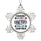 Adornos de Navidad, Divertido Crocheting Crocheter Gancho de Tejer Quilter Estaño Ornamento, Arte de Impresión de Copo de Nieve Ornamento Árbol Colgante Decoración Regalo, 3 Pulgadas