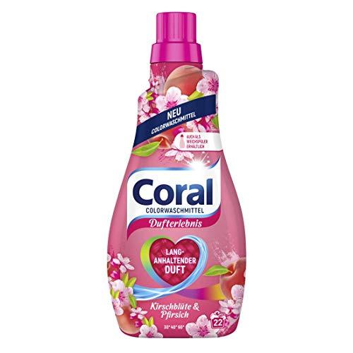 Coral Dufterlebnis Colorwaschmittel Kirschblüte und Pfirsich (Flüssigwaschmittel für bunte Wäsche mit langanhaltendem Duft 22 WL), 1 Stück (1 x 1100 ml)