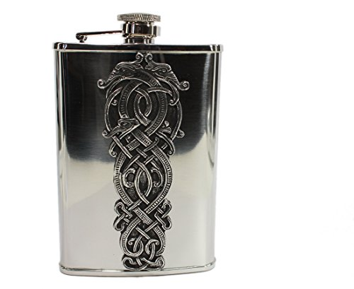 Irish Whiskey Flask Stainless Steel & Pewter Celtic Dragon Made in Ireland