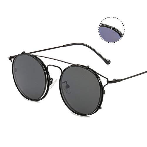 YHgiway Vintage Runde Rahmengläser - Nicht verschreibungspflichtige klare Clear Lens Brillengestell - Unisex Clip-OnObjektive Sonnenbrille UV400-Schutz, YH7754,BlackFrame/BlackGrayClips
