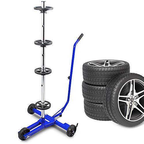 ms-point BITUXX® Stabiler fahrbarer Felgenbaum Reifenwagen Felgenständer Reifenständer Radwagen bis 355mm