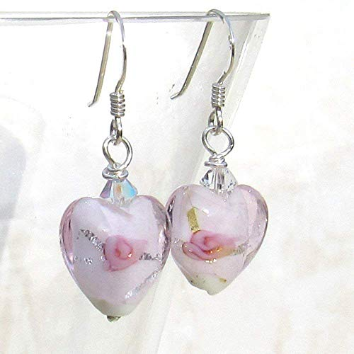 Murano Pink Fiorato Roses Glass Heart 12mm Sterling Silver, Crystal Bead Drop Earrings. Gift bag for Women. Jewellery by Lesley