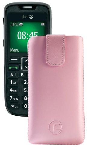 Original Favory Etui Tasche für / Doro PhoneEasy 508 / Leder Etui Handytasche Ledertasche Schutzhülle Hülle Hülle Lasche mit Rückzugfunktion* in Rosa