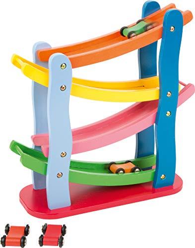 Small foot 7558 Piste multicolore en bois, quatre étages, avec quatre voitures en bois, à partir de 3 ans d'âge