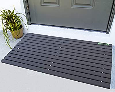 UV Resistant HDPE Mat | Heavy Duty Waterproof Front Door Mat | Stylish Handcrafted Recycled Plastic Poly Lumber Slats - Eco Friendly for Outdoor Entrance Patio Garage Entry (Grey Faux Wood)