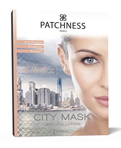 Patchness City Masque Bio Cellulose Prêt à Poser Anti-Pollution Purifiant Thé Vert Extraits de Capucine Graines de Morinaga 1 Masque à Usage Unique
