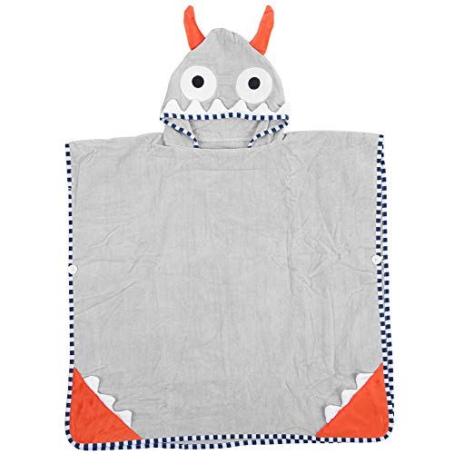 Toalla de algodón con capucha para bebé, Toalla de baño para bebé Cómodo diseño lindo Toallas con capucha suaves ultra absorbentes para bebé para bañarse(Pequeño monstruo gris, 70 * 70)