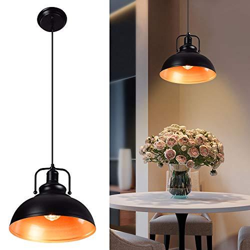 Depuley Pendelleuchte Vintage, Retro Hängeleuchte Metall, Pendellampe LED Deckenlampe Ø30cm, E27 Fassung für max. 60W, Schwarz-Gold Deckeleuchte für Küchen, Whonzimmer, Schlafizimmer, Flur