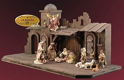 Weihnachtskrippe DUNKELBRAUN, orientalische Krippe XXL 70cm, Weihnachtskrippen, mit großem Deko-Set TDK für Textilfiguren/Ankleidefiguren aus Harzstein