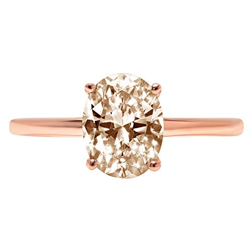 2.5ct Brilliant Oval Cut Solitaire Brown Champagne Simulated Diamond CZ Ideal VVS1 D 4-Prong Engagement Wedding Bridal Promise Anniversary Ring Solid Real 14k Rose Gold for Women, Size 4