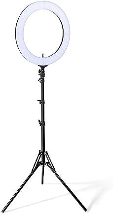LED Ring Light, Houzetek Luce per Video Fotocamera Foto Dimmerabile, 85W 2700k - 5500 K,Per Foto in Riprese, Video, Blog Video, Interviste(18 Pollici)