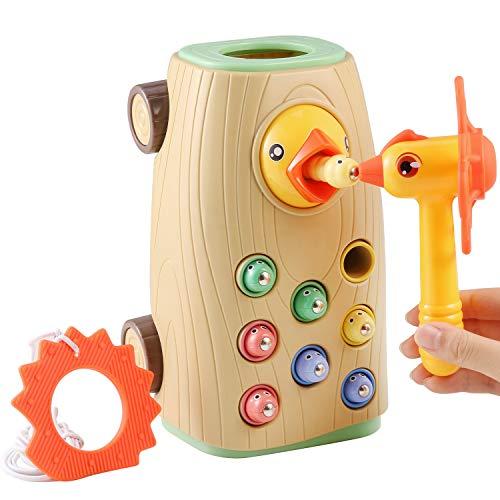 BBLIKE Montessori Spielzeug Magnetisches Kinderspiel, 3-IN-1 Ziehen Entlang Bus Spielzeug Wurm Fangen Spiel Hämmerchenspiel für Mädchen Junge 2 3 4 Jahre Alt, Nicht Elektrisch Spielzeug