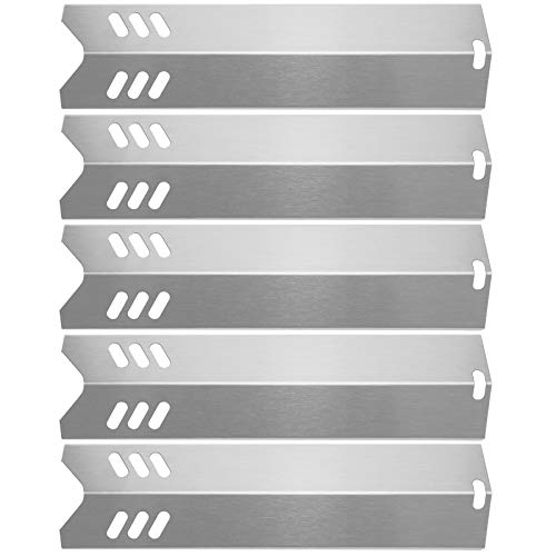 "Hisencn 15"" Stainless Steel BBQ Gas Grill Heat Plate Shield Tent Replacement for Backyard BY13-101-001-13, BY14-101-001-02, Dyna-Glo DGF510SBP, Uniflame GBC1059WB (5Pack - Stainless Steel)"
