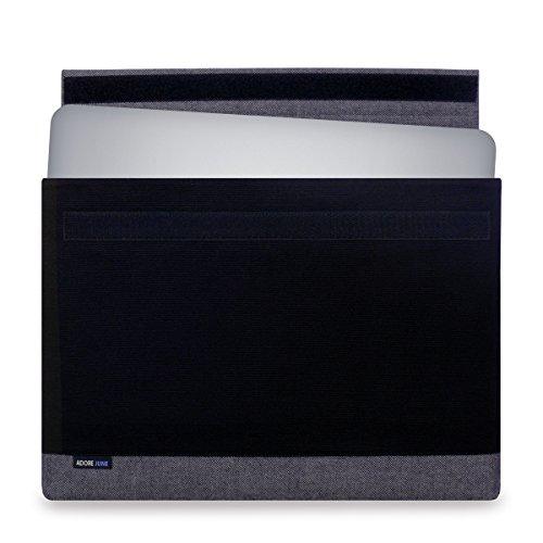 Adore June 15,6 Zoll Bold Hülle kompatibel mit Dell XPS 15 2015-2019, Laptop Tasche aus robustem Canvas Stoff - Schwarz