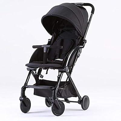 BABY STROLLER ZLMI Cochecito Gemelo de Alta Paisaje fácil Plegable portátil de Dos vías Cochecito de bebé Desmontable Adecuado para 0-3 años de Edad,Black,A