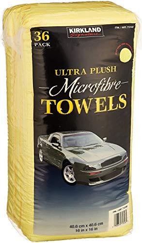 Kirkland Signature Ultra High Pile Premium Microfiber Towels, Yellow - 713160 (Family Bundle)