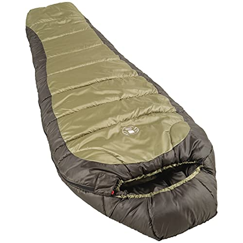 Coleman 0°F Mummy Sleeping Bag for Big and Tall Adults | for North Rim Cold-Weather, Olive