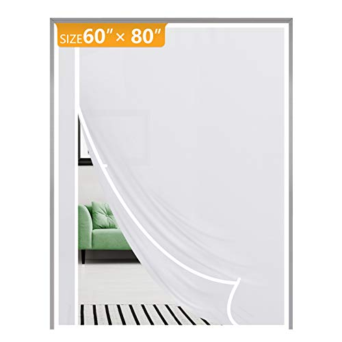 Magnetic Thermal Insulated Door Curtain Fits Door Size 60 x 80, Reversible Left Right Side Opening Plastic TPU Magnet Front, Kitchen, Upstair Door Covers Warm Winter Cool Summer, Semi-Transparent