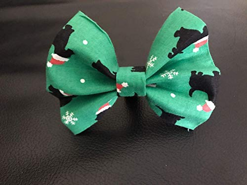 "Dog Bow Tie in Green Christmas Dogs in Santa Hats and Snowflakes for Holiday Winter Pet Fashion - Small 4"" Only"