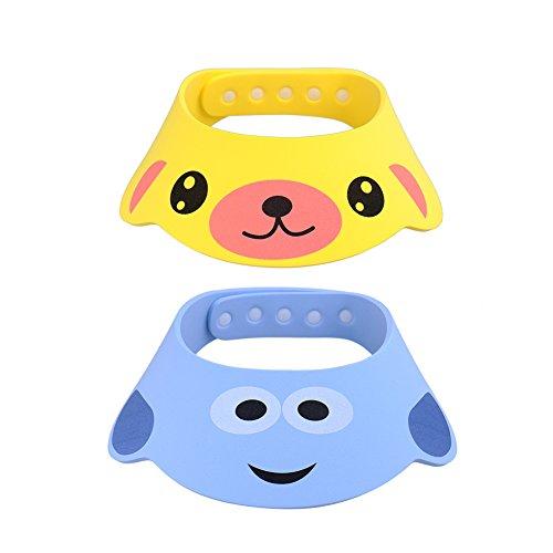 GZQES 2 pcs Gorro de Ducha para Bebés, Sombreros para Lavarse el Cabello para Bebe,Ajustable Gorro para Ducha del Baño (Estilo A)