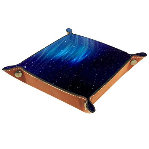 rodde Bandeja de Valet Cuero para Hombres - Cielo Estrellado Azul - Caja de Almacenamiento Escritorio o Aparador Organizador,Captura para Llaves,Teléfono,Billetera,Moneda