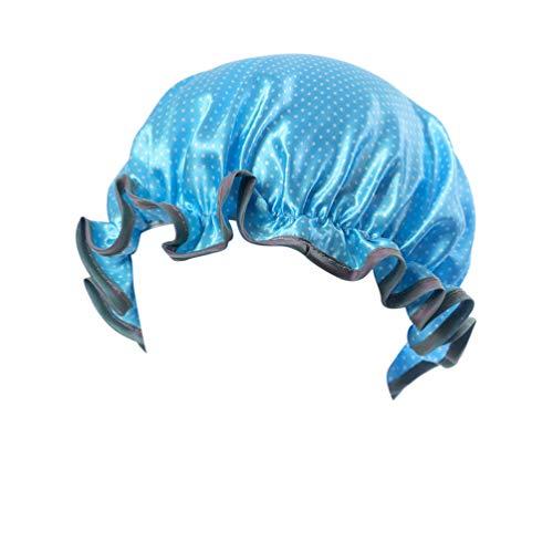 ToPBATHY Bonnet de douche en satin double couche pour enfants Bleu ciel