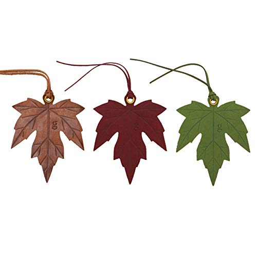 Maple Leaf Leather Bookmark - Markers for Men, Women and Lovers of Books - Unique Book Placeholder for Adults with Fancy Tassels and Cool Inspirational Insert - (Autumn Red)