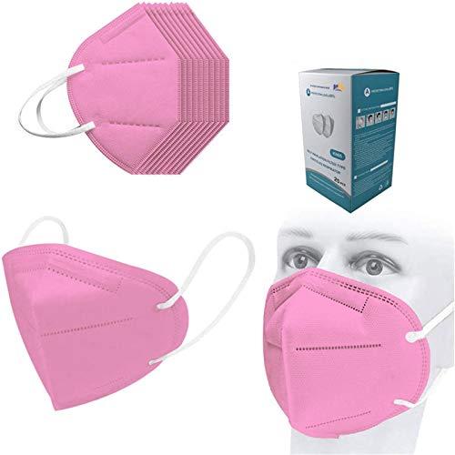 50Pcs Disposаble_N95_Face Mẵsk FDẴ Certified Coronàvịrụs Protectịon Adult's 5-Ply Filtеr Fàce Màsk_Efficiency≥95% (Pink)