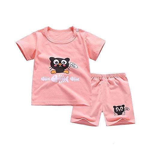 Fansu Pijamas Enteros de Manga Corta para Niños, Pijamas Dos Piezas Bebé Niña Verano Algodón Juego de Pijama Camisetas Pantalones Estampado Animal Carta (Espina de pez Gato Negro,110cm(3-4 años))