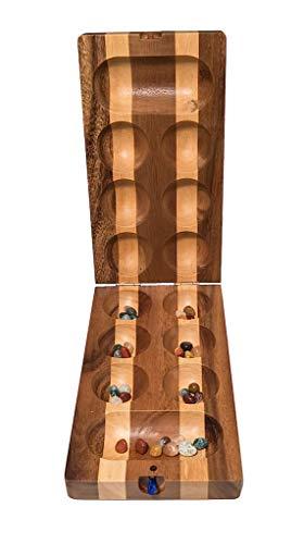 ROMBOL Kalaha klappbar, Mancala, Halbedelsteine, Steinchenspiel, Bohnenspiel, HUS BAO, Holz, Familienspiel, Gesellschaftsspiel aus Holz