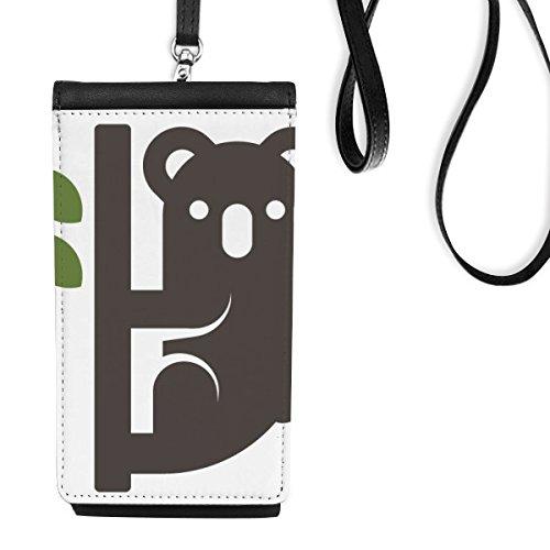 DIYthinker Australië Smaak Koala En Eucalypt Silhouette Illustratie Faux Leer Smartphone Hangende portemonnee Telefoon Portemonnee