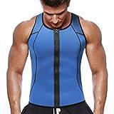 NOVECASA Chaleco Sauna con Cremallera Hombre Sauna Vest Zipper Compresion de Neopreno Modelador Camiseta Reductora para Adelgazante Sudoración Musculación (4XL(Cintura 112-121CM), Chaleco Azul)