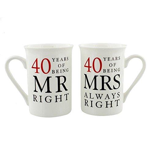 Happy Homewares Ivory 40th Anniversary Mr Right & Mrs Always Right Mug...