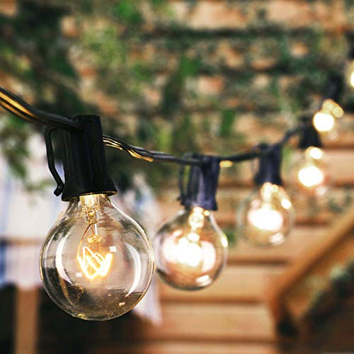 Outdoor String Lights 8.6M/28Feet G40 Globe Patio Lights with 26 Edison Glass Bulbs(1 Spare), Waterproof Connectable Hanging Lights for Backyard Porch Balcony Party Decor, E12 Socket Base, Black