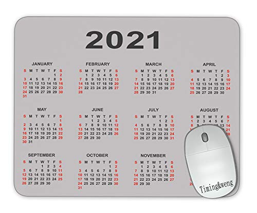Timing&weng Calendar 2021 Year Mouse pad Gaming Mouse pad Mousepad Nonslip Rubber Backing