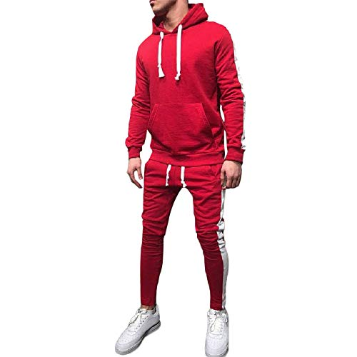 2018 Wintialy Men's Autumn Winter Patchwork Hoodie Sweatshirt Top Pants Sets Suit Tracksuit Red