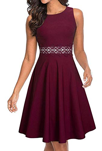 HOMEYEE Women's Sleeveless Cocktail A-Line Embroidery Party Summer Wedding Guest Dress A079 (4, Burgandy)