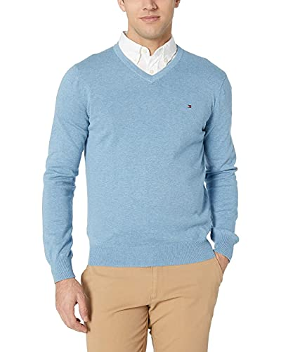 Tommy Hilfiger Herren Sweater with V Neck Pullover, Medium Chambray, Groß