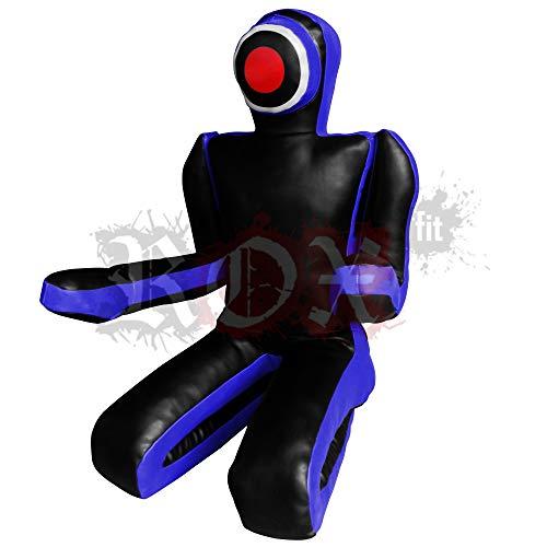 ROX Fit - Saco de boxeo para artes marciales mixtas de judo (sentado, estilo de presentación, doble cara, maniquí de artes marciales mixtas, saco de entrenamiento BJJ de 1,5 m y 1,8 m, color azul y negro (sin relleno) (5 pies (1,5 metros))