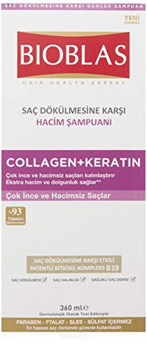 Bioblas Shampoo, dermatologisch getestet, Collagen + Keratin, Anti Haarausfall Shampoo für Mann und Frau, 360 ml (sehr dünnes und schwaches Haar)
