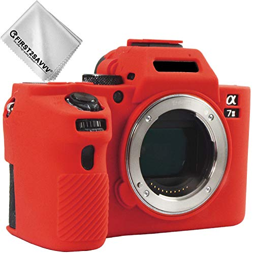 First2savvv rojo cuerpo completo caucho de TPU funda estuche Silicona para cámara para Sony ILCE Alpha a7 II . a7R II . a7S II .A7M2 + paño de limpieza XJPT-A7II-GJ-08G11