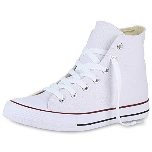 SCARPE VITA Herren Sneaker High Basic Turnschuhe Schnürer Freizeit Schuhe Canvas Stoff Schnürschuhe 175074 Weiss 40