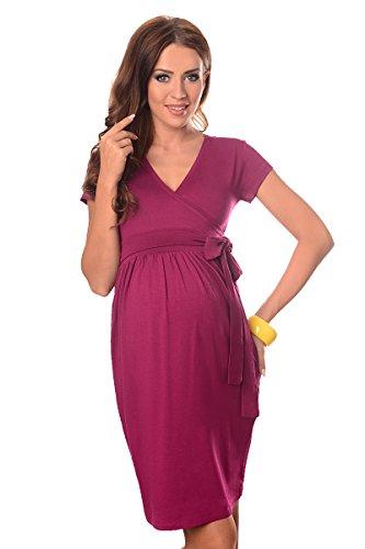 Purpless Damen Umstandsmode Umstandskleid Schwangerschaft Cocktailkleid V-Ausschnitt Kurzarm 5416 (36, Dark Pink)