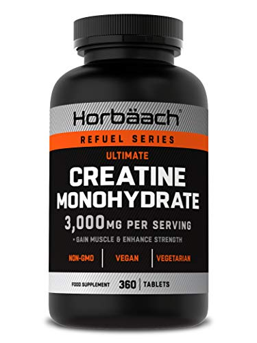 Creatine Monohydrate 3000mg | 360 Vegan Tablets | for Muscle Growth | Unflavoured | Non-GMO, Gluten Free Supplement