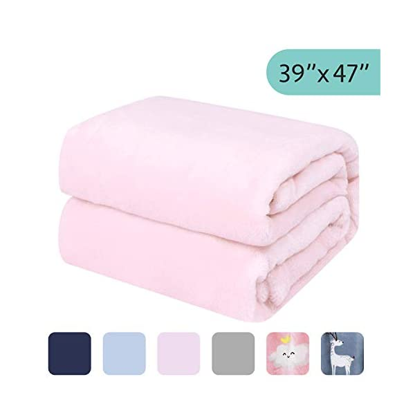 "TILLYOU Micro Fleece Plush Baby Blanket Soft Crib Blanket for Toddler Bed, Fuzzy Cozy Winter Warm Kids Blanket for Daycare or Preschool, Fluffy Flannel Nap Blanket Oversized, 39""x47"" Lt Pink"