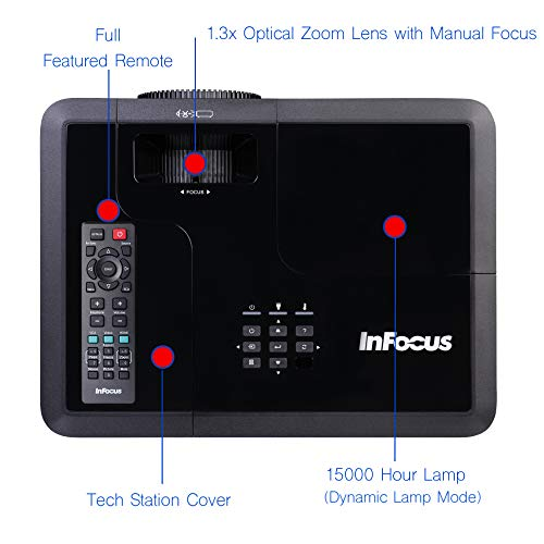 InFocus IN2134 DLP XGA 4500 Lumens, 1.3X Zoom, 3X HDMI, VGA, 3D and Wi-Fi Ready TechStation Projector Maine